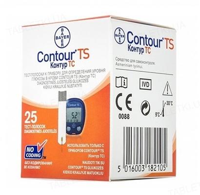 Тест-полоски Bayer Contour TS для глюкометра, 25 штук
