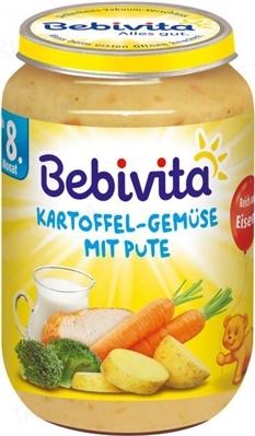 Мясо-овощное пюре Bebivita Картофель и овощи с индейкой, 220 г