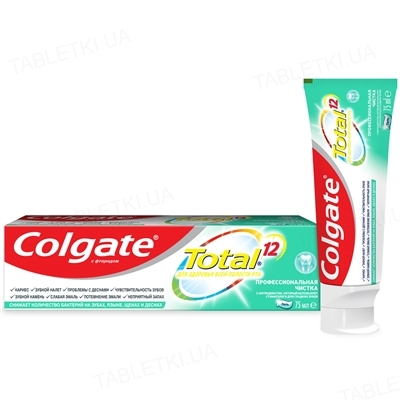 Зубной гель Colgate Total 12, Профессиональная чистка, 75 мл