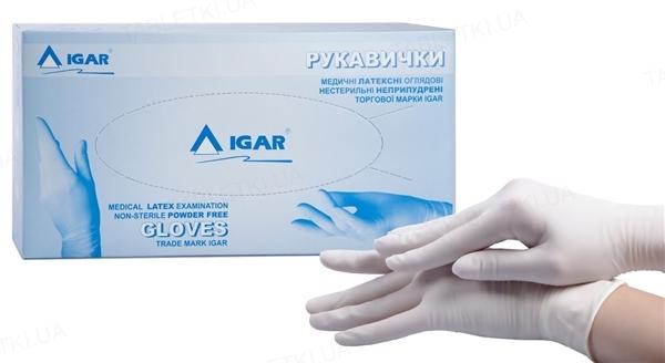 Рукавички оглядові IGAR латексні без пудри нестерильні, розмір L, пара