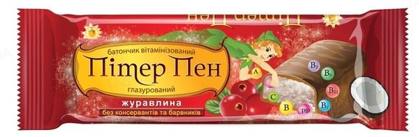 Батончик Пітер Пен глазур. шок. вітамінізований Журавлина по 40 г у плівці