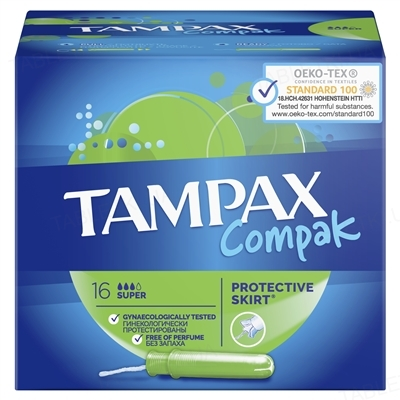 Тампони Tampax Compak Super з аплікатором, 3 краплі, 16 штук