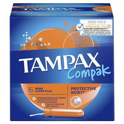 Тампони Tampax Compak Super Plus з аплікатором, 4 краплі, 16 штук