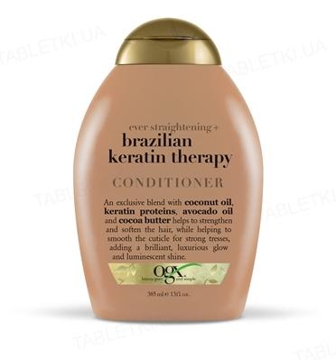 Кондиционер Ogx Brazilian Keratin Smooth Pазглаживающий для укрепления волос, 385 мл