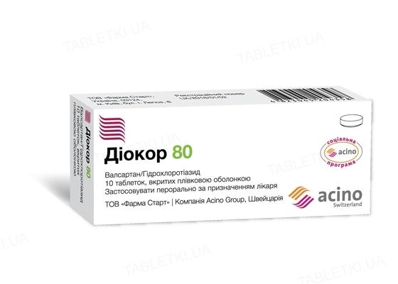 Диокор 80 таблетки, п/плен. обол. по 80 мг/12.5 мг №10
