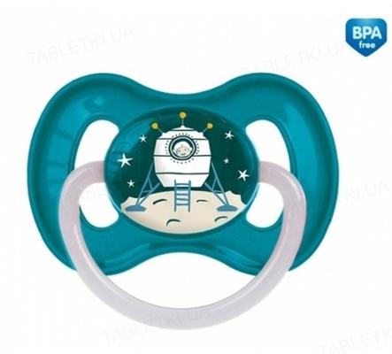 Пустышка латексная Canpol Babies Space круглая 23 / 222_blu, 6-18 месяцев, 1 штука