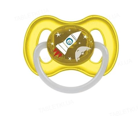 Пустышка латексная Canpol Babies Space круглая 23 / 222_yel, 6-18 месяцев, 1 штука
