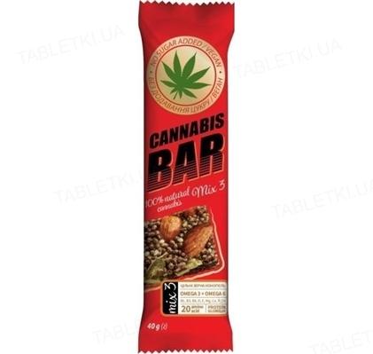 Батончик-мюсли Cannabis Bar с ореховым миксом mix3 + семена каннабиса по 40 г в оберт.