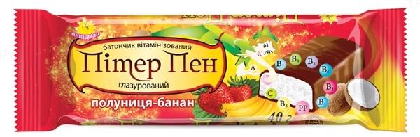 Батончик Пітер Пен глазур. шок. вітамінізований Полуниця-Банан по 40 г у плівці