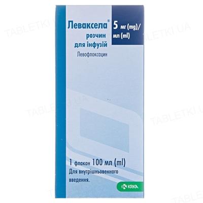 Леваксела раствор д/инф. 5 мг/мл по 100 мл во флак.