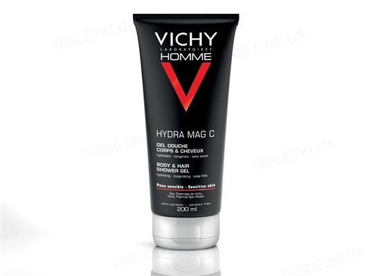 Гель для душа Vichy Homme Hydra Mag тонизирующий увлажняющий, для тела и волос, 200 мл