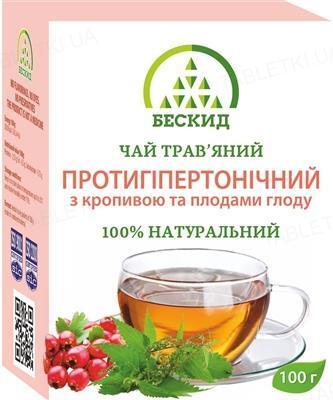Чай травяной Бескид Противогипертонический с крапивой и плодами боярышника, 100 г