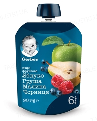 Фруктовое пюре Gerber Яблоко, груша, малина, черника, 90 г