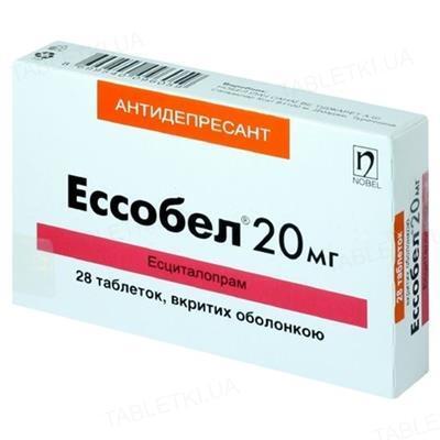 Эссобел таблетки, п/о по 20 мг №28 (14х2)