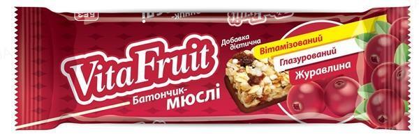 Батончик-мюсли Vita Fruit Клюква по 25 г в оберт.
