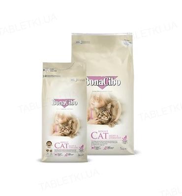 Корм сухий для стерилізованих котів і кішок із зайвою вагою BonaCibo Adult Cat Light & Sterilized з м'ясом курки, анчоусами і рисом, 2 кг