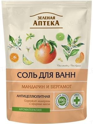 Соль для ванн Зеленая Аптека Мандарин и бергамот дой-пак, 500 г