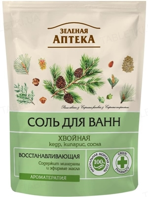 Соль для ванн Зеленая Аптека Хвойная дой-пак, 500 г