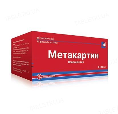 Метакартин раствор ор. 2 г/10 мл по 10 мл №10 во флак.