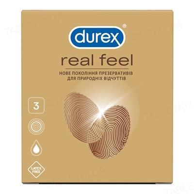Презервативы из синтетического латекса Durex Real Feel натуральные ощущения, 3 штуки