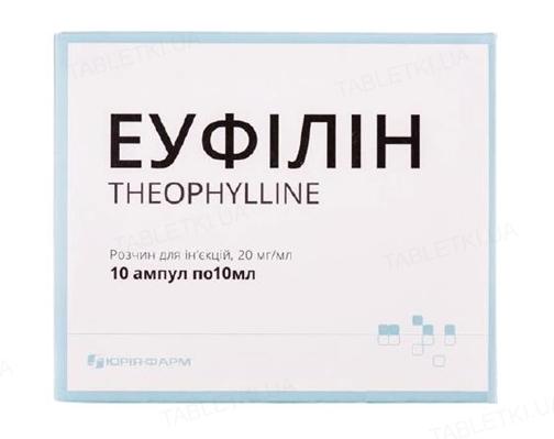 Эуфиллин раствор д/ин. 20 мг/мл по 10 мл №10 (5х2) в амп.