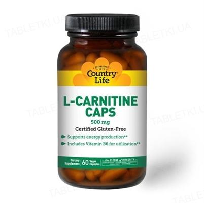 Жиросжигатель Country Life L-Carnitine (карнитин) 500 мг, 60 капсул