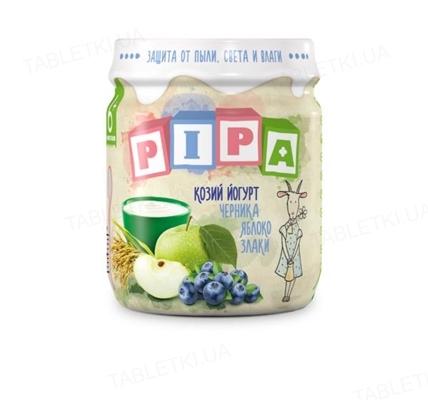 Фруктовое пюре Pipa из яблок и черники с козьим йогуртом и злаками, 100 г