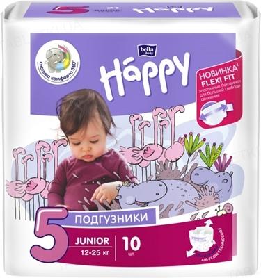 Подгузники детские Happy Bella Baby junior, размер 5, вес 12-25 кг, 10 штук