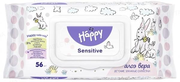 Салфетки влажные для детей Happy Bella Baby Sensetive & Aloe Vera, 56 штук