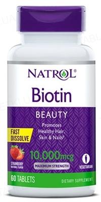 Витамины Natrol Biotin 10000 мкг Straw, 60 таблеток