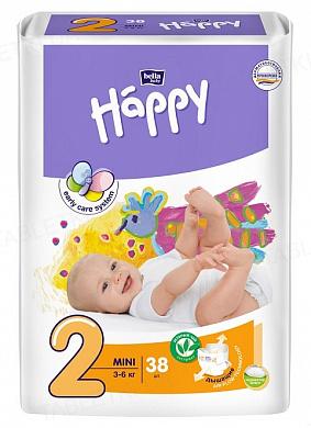 Подгузники детские Happy Bella Baby mini, размер 2, вес 3-6 кг, 38 штук