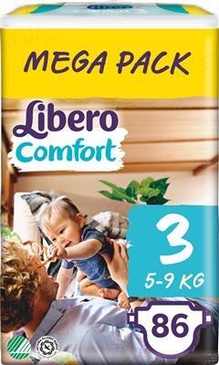 Подгузники Libero Comfort размер 3, 5-9 кг, 86 штук
