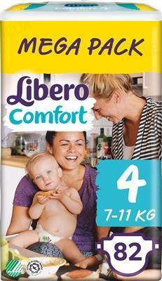 Подгузники Libero Comfort размер 4, 7-11 кг, 82 штук