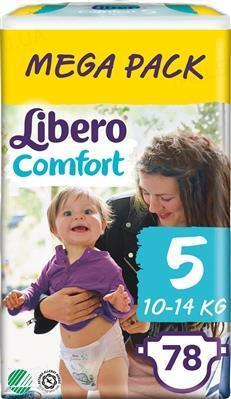 Подгузники Libero Comfort размер 5, 10-14 кг, 78 штук