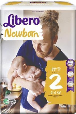 Подгузники Libero New Born размер 2, 3-6 кг, 88 штук