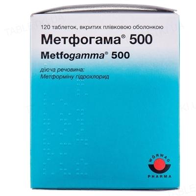 Метфогамма 500 таблетки, п/плен. обол. по 500 мг №120 (10х12)