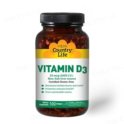 Витамины Country Life Vitamin D3, 1000 МЕ, 100 мягких капсул