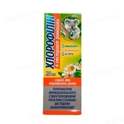 Хлорофиллин с экстрактом ромашки спрей для полости рта по 20 мл во флак.