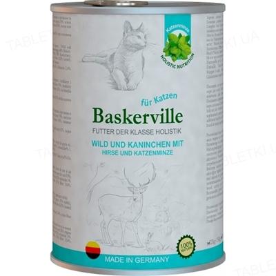Консерва для котів Baskerville Holistic оленина з кроликом і котячою м'ятою, 400 г