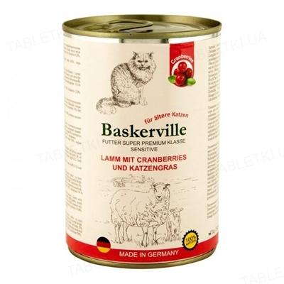 Консерва для котів Baskerville Sensitive ягня з журавлиною і котячою травою, 400 г