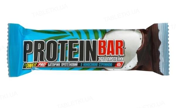 Батончик протеїновий Power Pro 36% протеїну з кокосовою стружкою, 40 г