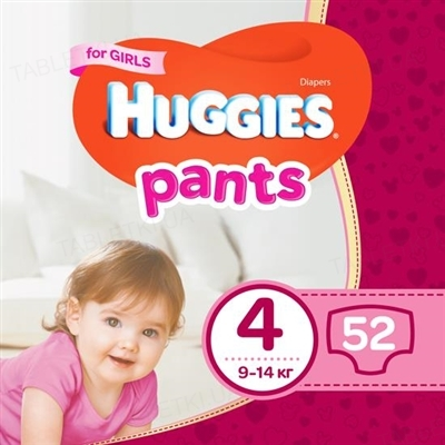 Трусики-подгузники детские Huggies Pants для девочек, размер 4, 9-14 кг, 52 штуки
