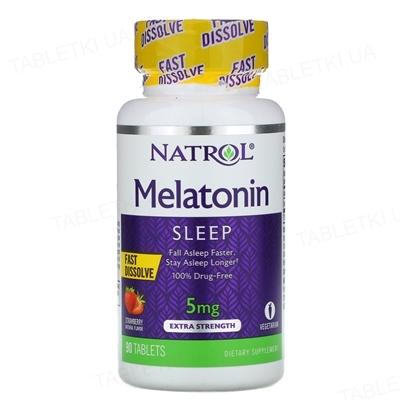 Мелатонин Natrol Melatonin Fast Dissolve клубника 5 мг, 90 таблеток
