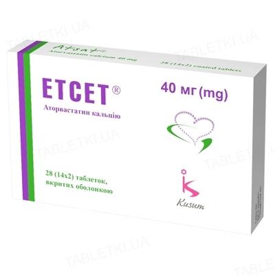 Этсет таблетки, п/о по 40 мг №28 (14х2)