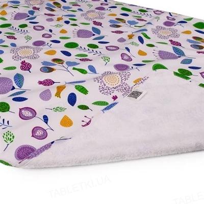 Пеленка двусторонняя непромокающая Эко Пупс Eco Cotton, 65 х 90 см, фуксия, цветы