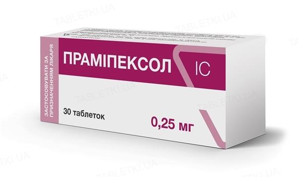 Прамипексол IC таблетки по 0.25 мг №30 (10х3)
