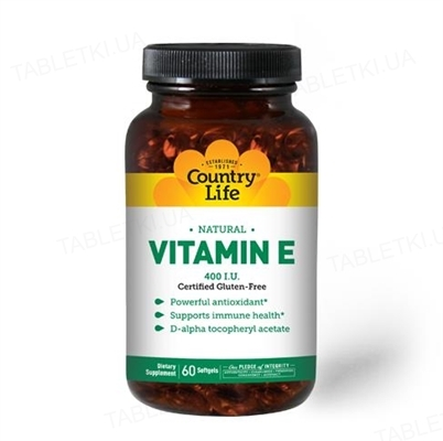 Витамины Country Life Natural Vitamin E (витамин Е), 60 мягких капсул