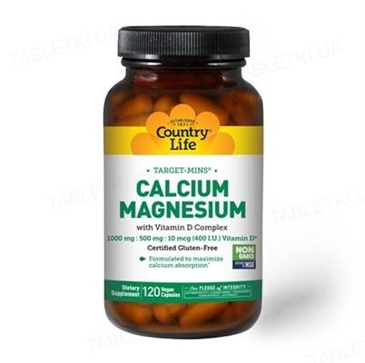Витаминно-минеральный комплекс Country Life Calcium Magnesium, с витамином D, 120 капсул