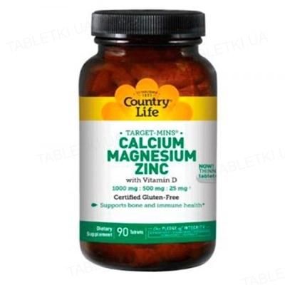 Минеральный комплекс Country Life Кальций-Магний-Цинк, с витамином D3, 180 таблеток