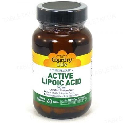 Натуральная добавка Country Life Lipoic Acid (липоевая кислота) 300 мг, 60 таблеток